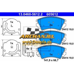 Brzdové doštičky OPEL Insignia A - predné - pre priemer kotúča 321 mm - 95520061 - ATE - 605612