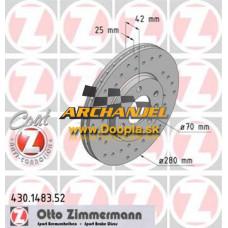 Brzdový kotúč OPEL - predný Zimmermann - 280 mm - 430.1483.52 - Doopla.sk | Opel Diely | Originál diely Opel | Archanjel Slovakia, s.r.o.